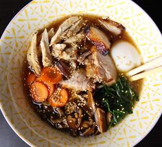 Another #bowl of #homemade #shoyu #ramen | with #sousvide #staranise #porkbelly | #roasted #ginger #chicken #thighs | #sousvide #egg at 63Cfor1hr | #pickled #shiitake | #spinach | #carrots | #food #foodporn #foodpornshare #eeeeeats @davidchang #momofuku by zkoulermos