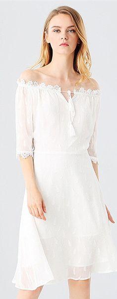 White Boat Neck Half Sleeves Midi Dress