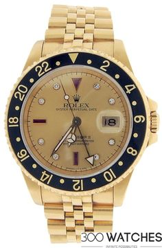 Rolex GMT-Master II 18k Yellow Gold Diamond Ruby | discount luxury watches | 300watches