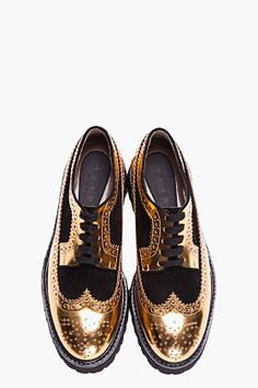 MARNI gold leather and suede platform brogues