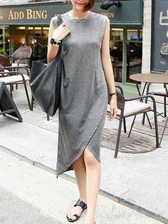 ファッション非対称ノースリーブ 柔らかい カジュアルワンピースは格安とか人気のものなどいろいろな種類があり、ここで。一番のサービスと最高品質の商品Doresuweで提供しています。