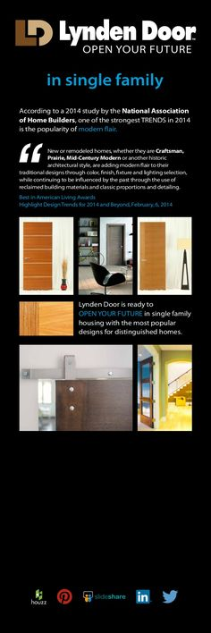 Latest design trends in homes and doors. Modern Craftsman, Marketing Information, Latest Design Trends, Door Opener, Single Family, Home Builders, Homes, Houses, Home