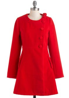 Noticed Everyday Coat by Yumi - Long, Red, Solid, Bows, Buttons, Long Sleeve, 3, Party, Casual, Vintage Inspired, Luxe, Fall, Winter