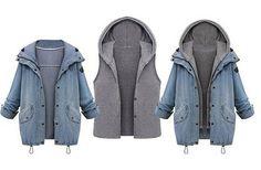 Winter Herbst Damen Wintermantel Schöne Coat Parka Jacke Deinm Mantel Blazer Kapuzen: Amazon.de: Bekleidung