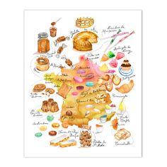 Carte de France illustrée Aquarelle Bonbons et gâteaux