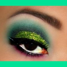 Citrus Glitter Cut Crease Beautylish.  I kind of like this look. Something competitive cheerleading would wear.