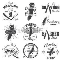 Conjunto de emblemas de poca barber a etiquetas escudos y elementos dise ados Estilo lineal monocrom Foto de archivo
