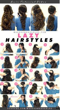 4 Easy Lazy Hairstyles for Fall & Winter | Tutorial Easy Lazy Hairstyles, 5 Minute Hairstyles, Box Braids Hairstyles, Everyday Hairstyles, Summer Hairstyles, Pretty Hairstyles, Hairstyle Ideas, School Hairstyles, Hair Ideas