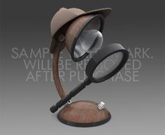 3D model of a table lamp with a loupe and a Sherlock Holmes' hat (brown, funny, inventive, creative, great idea, theme, retro, vintage, old, interior design, decor, desk, table, creative, unique, different)