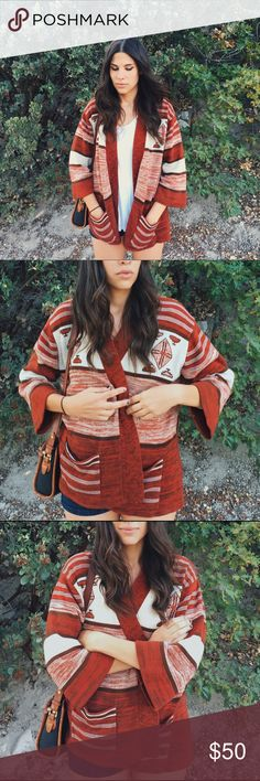 Vintage Southwest Cardigan Vintage Southwest 70's Cardigan with bell flare sleeves. Tag says Glamour Knit. No size marking but fits like a medium. Burnt orange, cream and brown. Vintage Sweaters Cardigans