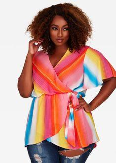 23118176ef7 Multi Stripe Wrap Top  psfashion  plussizetops  pstops  blouses  plussize  Ashley Stewart