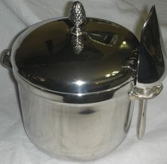 Vintage Towle Silver Plate Ice Bucket w/Pineapple Knob Lid, Liner and Ice Scoop #Towle