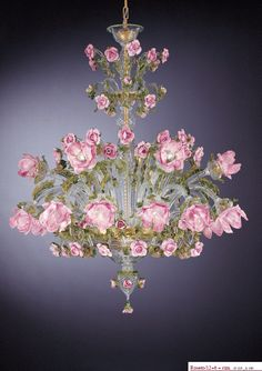 Green, gold and pink Murano rose chandelier - How pretty for a drawing room or ladies library Murano Chandelier, Flower Chandelier, Italian Chandelier, Italian Lighting, Antique Chandelier, Chandelier Lighting, Purple Chandelier, Lustre Shabby Chic, Lustre Floral