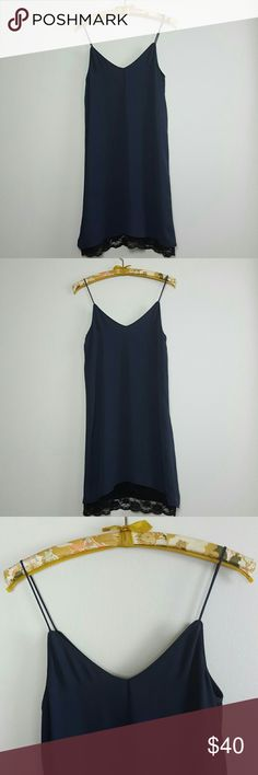 Zara Gray Slip Dress Zara dark gray slip dress. Double layered with black lace peaking out the bottom hem. Non-adjustable straps. Fantastic condition without any notable flaws. 1st pic is not my own but of the same dress.  No trades. Reasonable offers welcome. Bundle to save. Zara Dresses