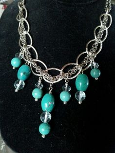 Turquoise & Faceted Aquamarine on Woven Chain.