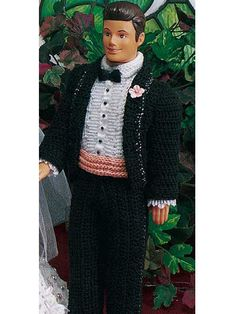 Tuxedo for fashion doll - free pattern   i'm thinking sparkly gold thread and add a winged baret and I got Moist von lipvig