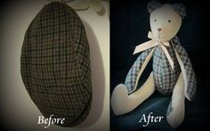 This Bear is made from a flat cap which belonged to a much loved Grandad.