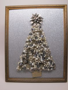 Framed Christmas tree. Handmade with repurposed by MarysMoon