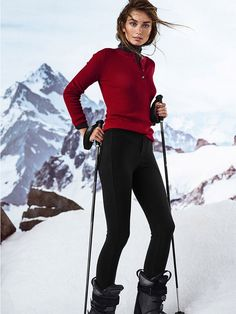 Andreea Diaconu & Mikkel Jensen for Massimo Dutti Apres Ski | noticing that the in-the-boot ski pants look tres chic once again