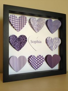 Purple Heart, 3D Paper Art - perfect for a new baby or little girl's room. $35.00, via Etsy.