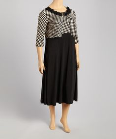 Another great find on #zulily! Black & Tan District Check Tank Dress & Cardigan - Plus by Danny & Nicole #zulilyfinds