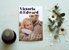 Modern save the date invitation with photo Save The Date Invitations, Wedding Invitation Templates, Printable Invitations, Wedding Invitations, Modern Save The Dates, Edit Online, Dating, Masquerade Wedding Invitations, Quotes