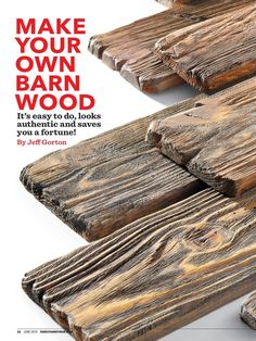 "MAKE YOUR OWN BARN WOOD"" from Family Handyman, June 2018 Read it on the Textur a few standard concerns for picking essential standards in Advanced Woodworking Projects Decor Barn Wood Projects, Woodworking Projects That Sell, Woodworking Crafts, Woodworking Plans, Diy Projects, Woodworking Classes, Handyman Projects, Woodworking Supplies, Popular Woodworking"