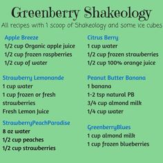 Green berry shakeology More beachbody recipes Greenberry Shakeology, Shakeology Shakes, Beachbody Shakeology, Protein Shake Recipes, Smoothie Recipes, Protein Shakes, Apple Smoothies, Protein Smoothies, Meal Replacement Shakes
