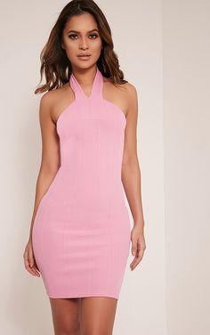 65dd2bffeb9 Chessie Bubblegum Pink Halterneck Bandage Bodycon Dress Cheap Party  Dresses