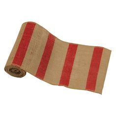 Burstripe # 250 Natural Burlap Roll with red stripe 6inchW x 10 yds