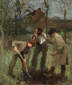 Planting a Tree, George Clausen. English Realist Painter (1852 - 1944)