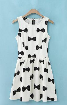 Bowknot Printing Sleeveless Cute Dress
