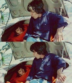 Ringo Starr and George Harrison in the Beatles movie Help! 1964
