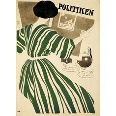 Plakat skabt til Politiken i 1908. Genoptrykt i anledning af Politikens 100-års jubilæum i 1984