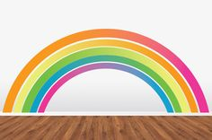 Rainbow Wall Decal  HUGE Removable Reusable Repositionable WallSkin.  Never Vinyl. Always Fabulous.. $65.00, via Etsy.    It is possible that something like this would satisfy Annabel's never ending need for rainbows. In their room. Or the basement!
