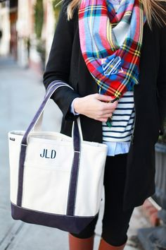 85be06308 Lemon stripes sporting her Lands' End tote and monogrammed scarf. Preppy  Style Winter,