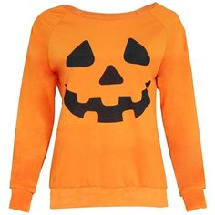 Gillberry Women Halloween Pumpkin Print Long Sleeve Pullover Tops... (495 RUB) ❤ liked on Polyvore featuring tops, blouses, orange blouse, shirt blouse, pattern blouses, print long sleeve shirt and print blouse
