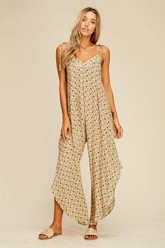 4e1d5962d2682 Geo Print Culotte Jumpsuit Style# JC6031 Woven jumpsuit featuring geometric  print, straps, sleeveless