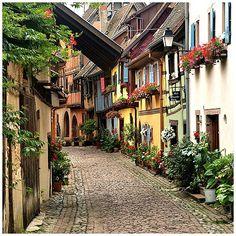 Cobblestone Street, Eguisheim, France  photo via susan