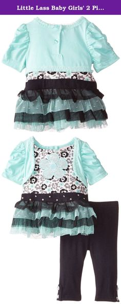 Little Lass Baby Girls' 2 Piece Shrug Set Printed Knit Tulle, Mint, 6-9 Months. Little lass offers cute and comfortable styles with quality construction. She is adorable in this 2 piece shrug set with a printed knit top with ruffled tulle, solid knit jersey shrug, and solid knit legging.