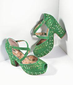 Miss L Fire Green Suede & Gold Studs Platform Peep Toe Selina Heels Shoes Vintage Style Shoes, Retro Shoes, Vintage Boots, 1950s Shoes, Slingback Shoes, Peep Toe Shoes, Ankle Strap Heels, Ankle Straps, Vintage 1950s Dresses