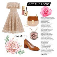 """Gamiss Lace Dress Vintage Elegant"" by vintage708090s on Polyvore featuring Taryn Rose, Chloé, Allurez, Yves Saint Laurent and vintage"