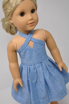 doll dress patterns This dress is perfect for dress features include: - Blue chambray fabric - V neckline - Sleeveless - Gathered skirt - Ties around neck in back - Hook and Cute Teen Outfits, Teenage Girl Outfits, Kids Outfits, Doll Outfits, American Doll Clothes, Ag Doll Clothes, Chambray Dress, Chambray Fabric, Hot Topic Clothes
