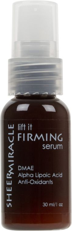 "Lift It Firming Serum with DMAE and Alpha Lipoic Acid  DMAE: Topical DMAE has been called ""a face lift in a jar"" and is the first agent proven in a study to have positive effect on facial sag.  Alpha Lipoic Acid: Powerful anti-oxidant that improves the efficacy of other anti-oxidants (such as vitamins A and C).  http://www.sheermiracle.com/lift-it-firming-serum-with-dmae/"