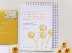 Gray gingham and yellow flower wedding invitation idea - gray + yellow wedding invitation idea {@laurenechism - Dallas-area Wedding Stationery}