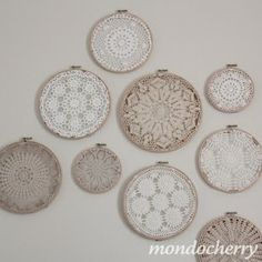 doilies + embroidery hoops...I was jst given some doilies from my grandma who passed away...this would be a great way to display them instead of setting them under things