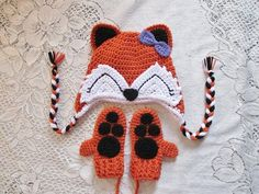 Red Fox Crochet Hat and Mitten Set Available With por BusterBrowns