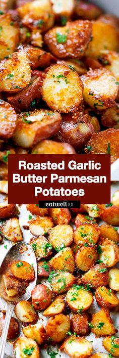 Roasted Garlic Butter Parmesan Potatoes Recipe - #eatwell101 #recipe #poatoes #sidedish - These epic roasted potatoes with garlic butter parmesan are perfect side for your meal! - #recipe by #eatwell101