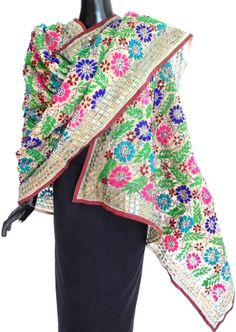 Phulkari Dupatta on Chanderi Cotton Silk Fabric -Grey:GiftPiper.com. Also see our dupatta collection at http://giftpiper.com/Stoles-Dupattas-catid-36678-page-1.html