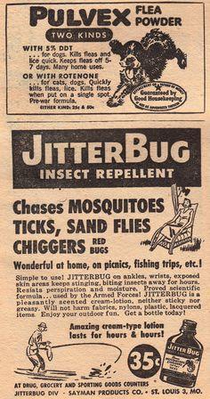 Fantastic Novels Magazine- 1948. 'Flea Powder' & 'Jitterbug' Flea Powder, Insect Repellent, Magazine Ads, Fleas, Commercial Art, 1940s, Novels, Vintage, Insect Repellent Plants